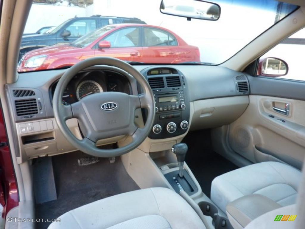 Beige Interior 2007 Kia Spectra EX Sedan Photo 45327147