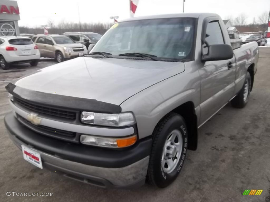 2002 Silverado 1500 LS Regular Cab - Light Pewter Metallic / Graphite Gray photo #1