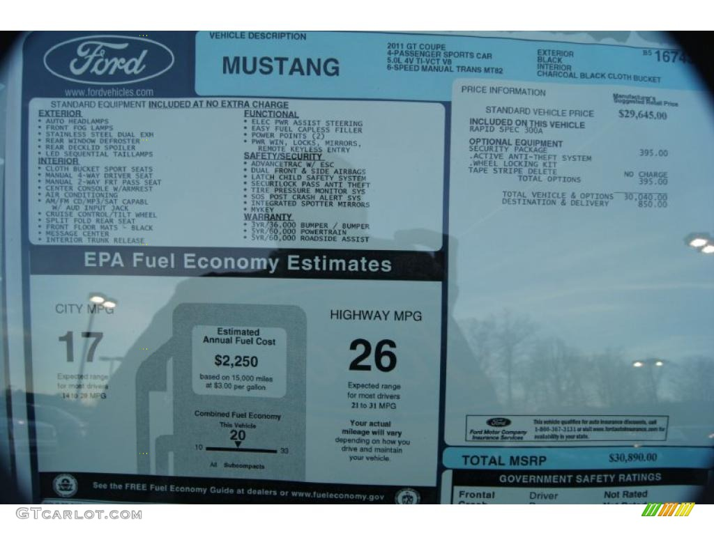 2011 Ford Mustang Gt Coupe Window Sticker Photos