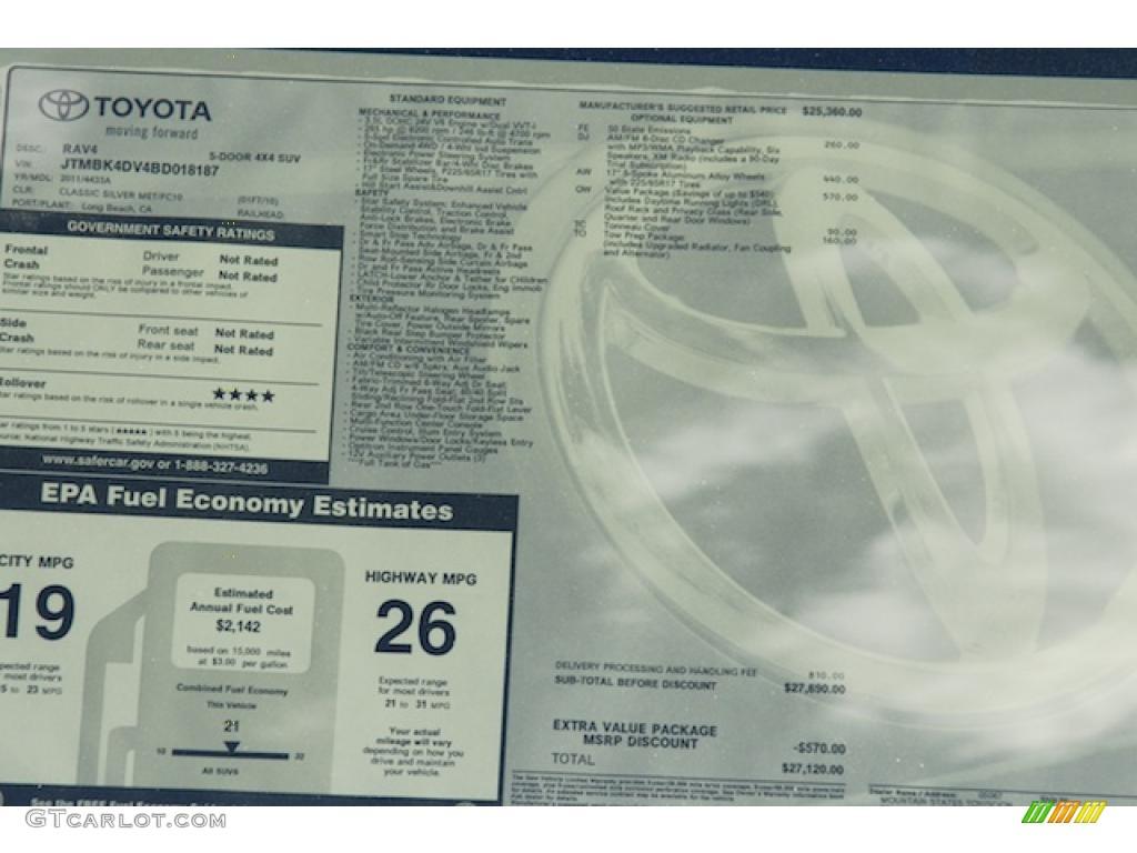 2011 toyota rav4 v6 4wd window sticker photo 45510498