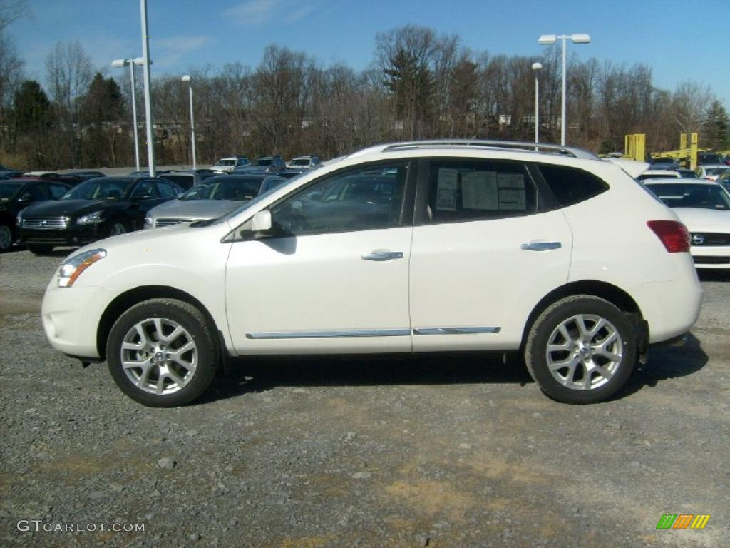 Pearl White 2011 Nissan Rogue Sv Awd Exterior Photo 45588483