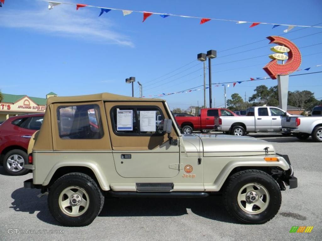 1992 light champagne metallic jeep wrangler sahara 4x4 #45497370