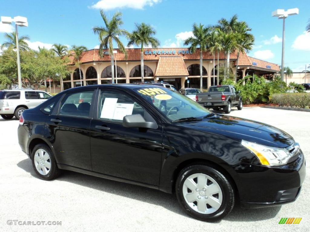 2010 ebony black ford focus s sedan 45689862 car color galleries. Black Bedroom Furniture Sets. Home Design Ideas