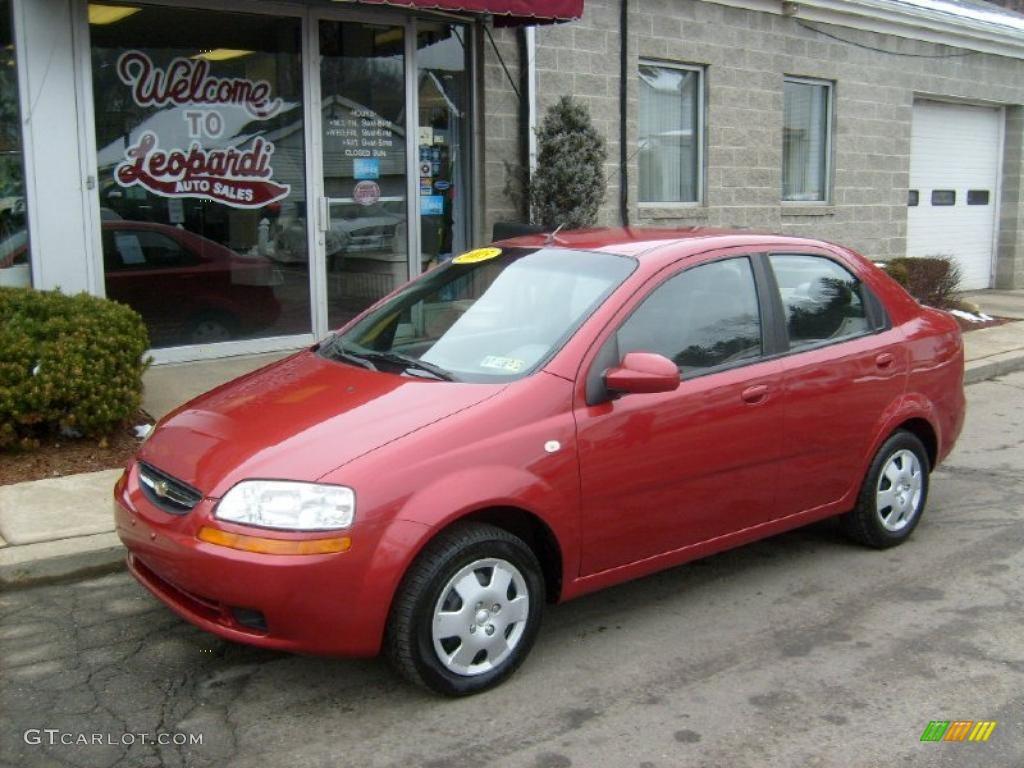 2005 Sport Red Metallic Chevrolet Aveo LS Sedan 45770512