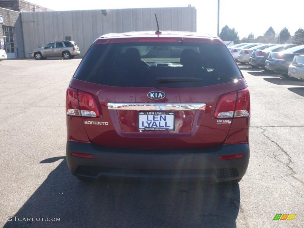 2011 Sorento LX AWD - Spicy Red / Beige photo #5
