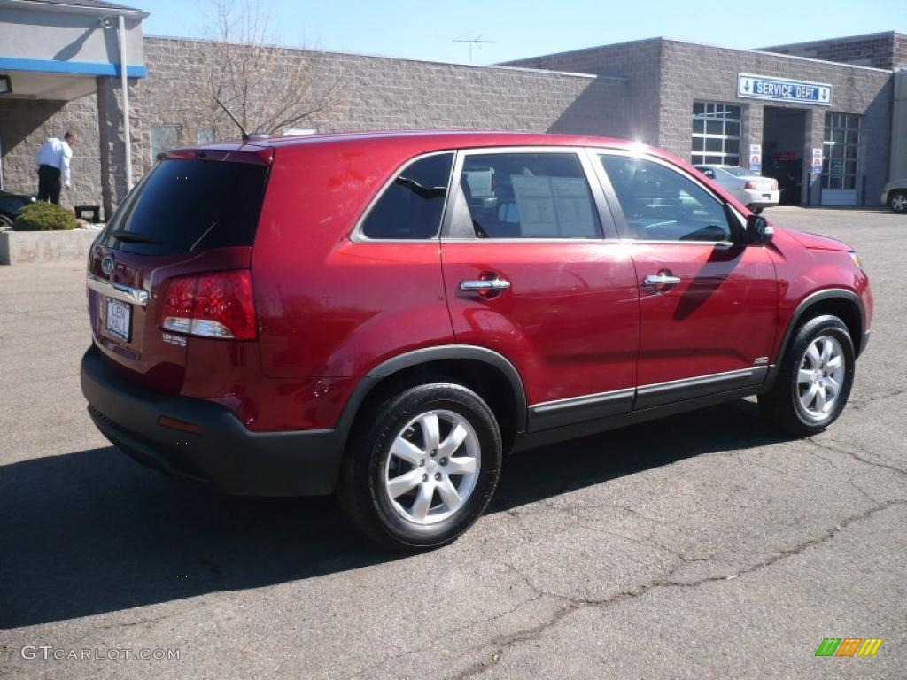 2011 Sorento LX AWD - Spicy Red / Beige photo #6