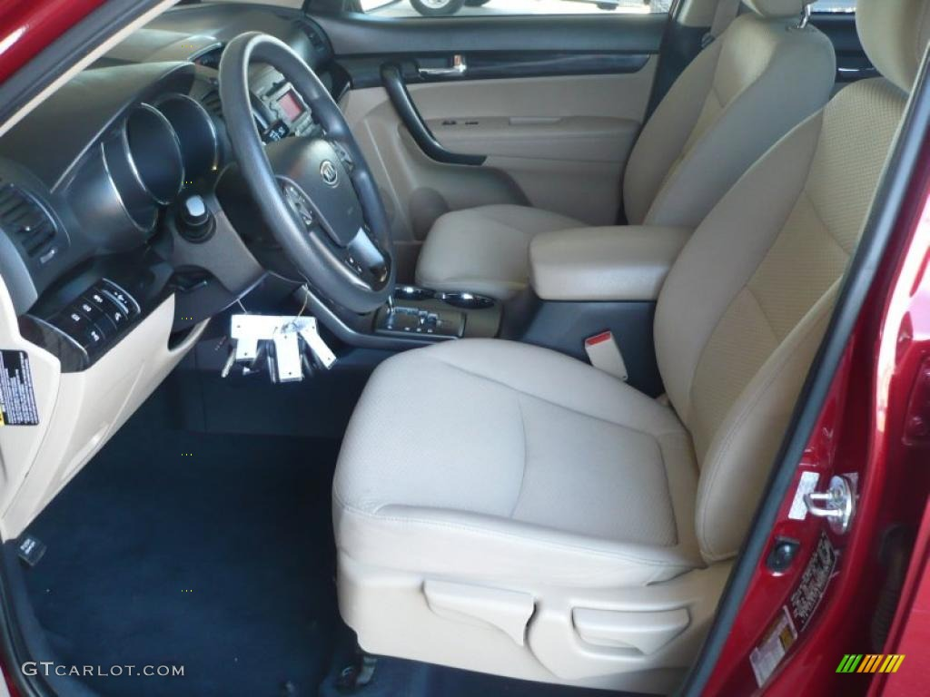 2011 Sorento LX AWD - Spicy Red / Beige photo #9