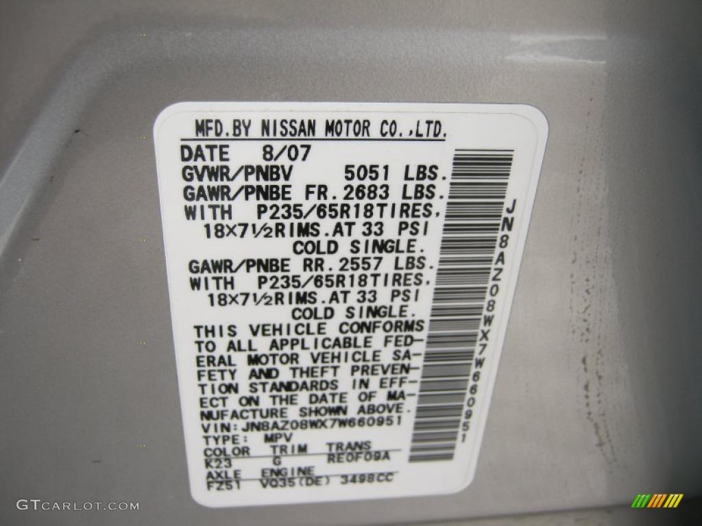 2007 Murano S AWD - Brilliant Silver Metallic / Charcoal photo #27