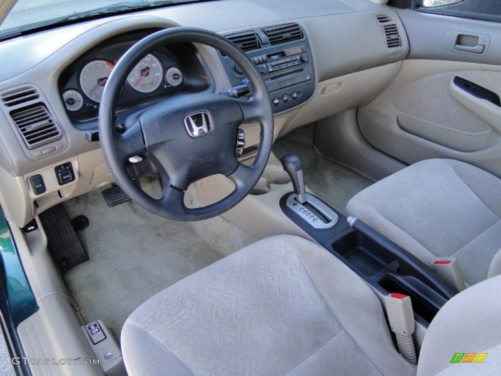Beige Interior 2001 Honda Civic Lx Coupe Photo 45987860