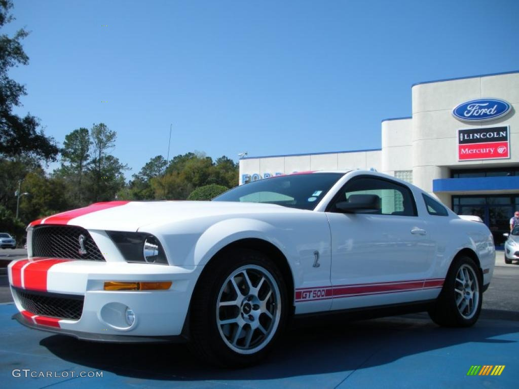 2007 Mustang Shelby GT500 Coupe - Performance White / Black/Red photo #1