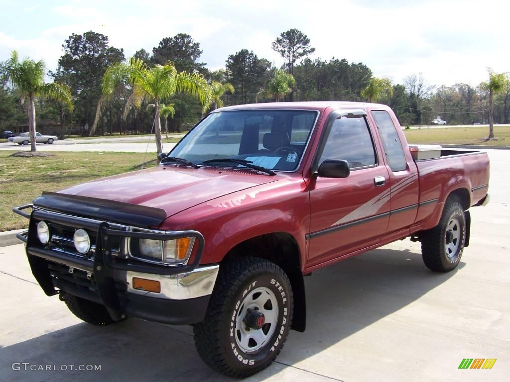 1993 garnet red pearl toyota pickup deluxe extended cab 4x4 4621434 photo 7. Black Bedroom Furniture Sets. Home Design Ideas