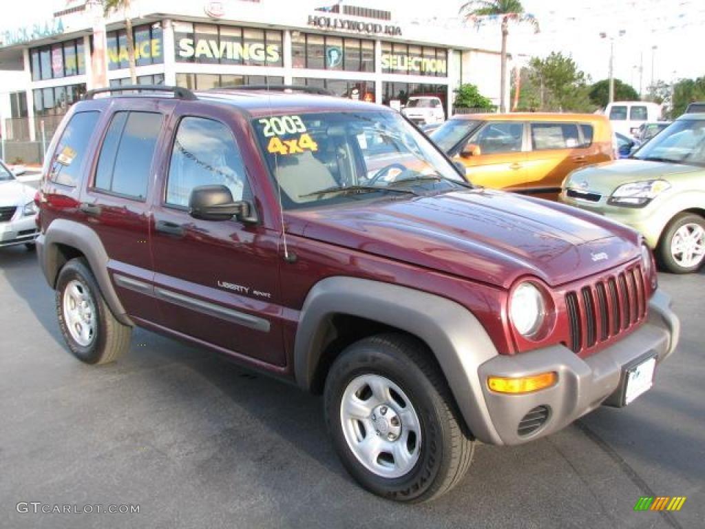 2003 dark garnet red pearl jeep liberty sport 4x4 #46244797