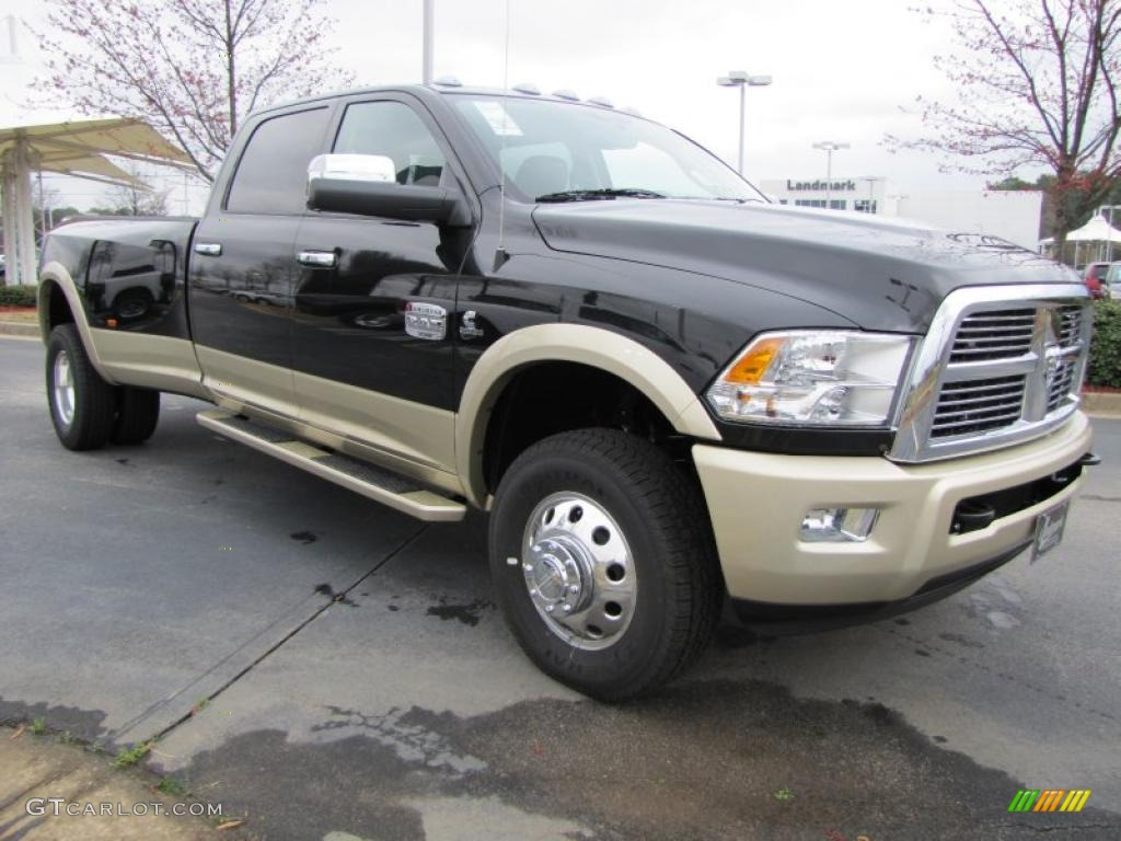 brilliant black crystal pearl 2011 dodge ram 3500 hd laramie longhorn crew cab 4x4 dually. Black Bedroom Furniture Sets. Home Design Ideas