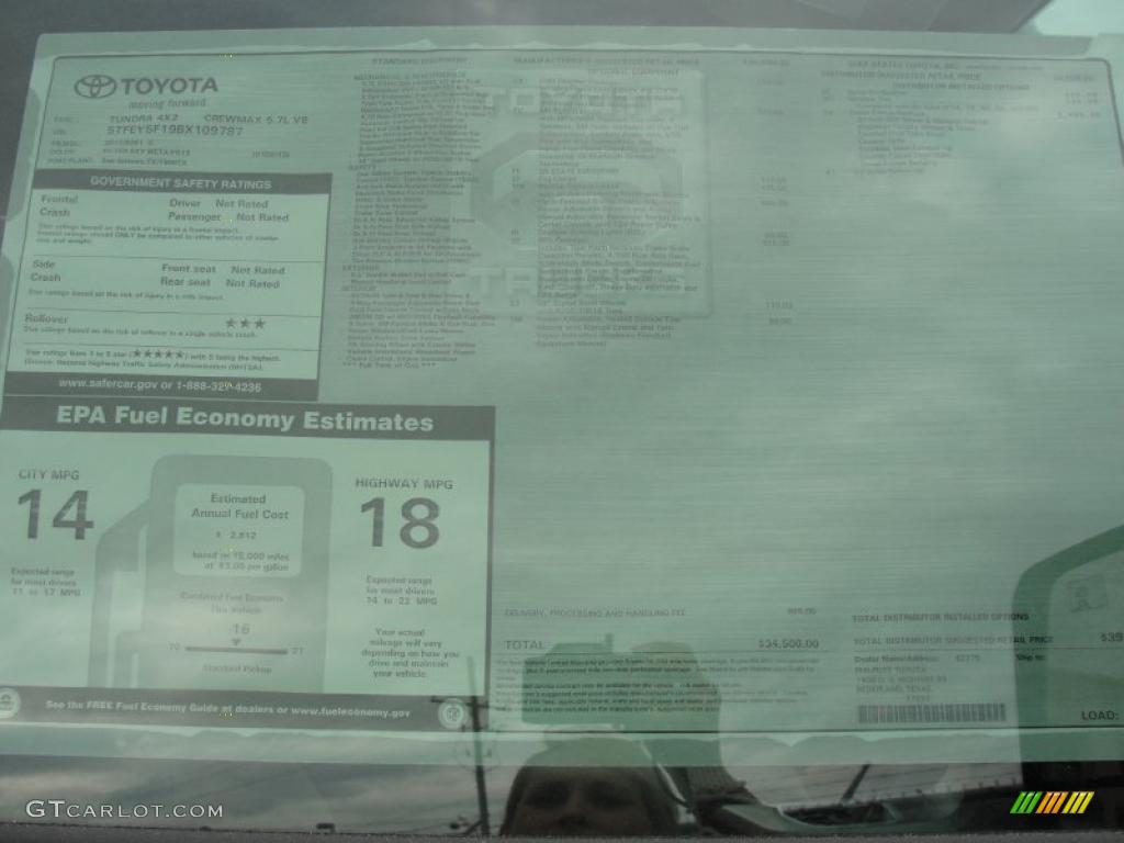 2011 Tundra Texas Edition CrewMax - Silver Sky Metallic / Graphite Gray photo #39