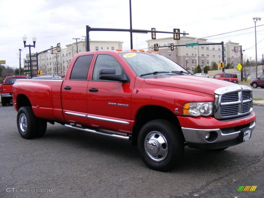 Flame red 2005 dodge ram 3500 laramie quad cab 4x4 dually exterior photo 46651931