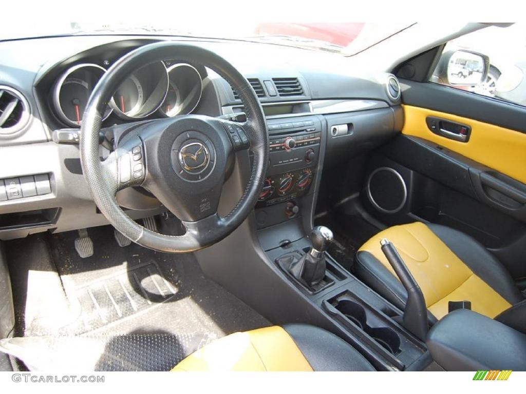 black yellow interior 2004 mazda mazda3 s hatchback photo. Black Bedroom Furniture Sets. Home Design Ideas