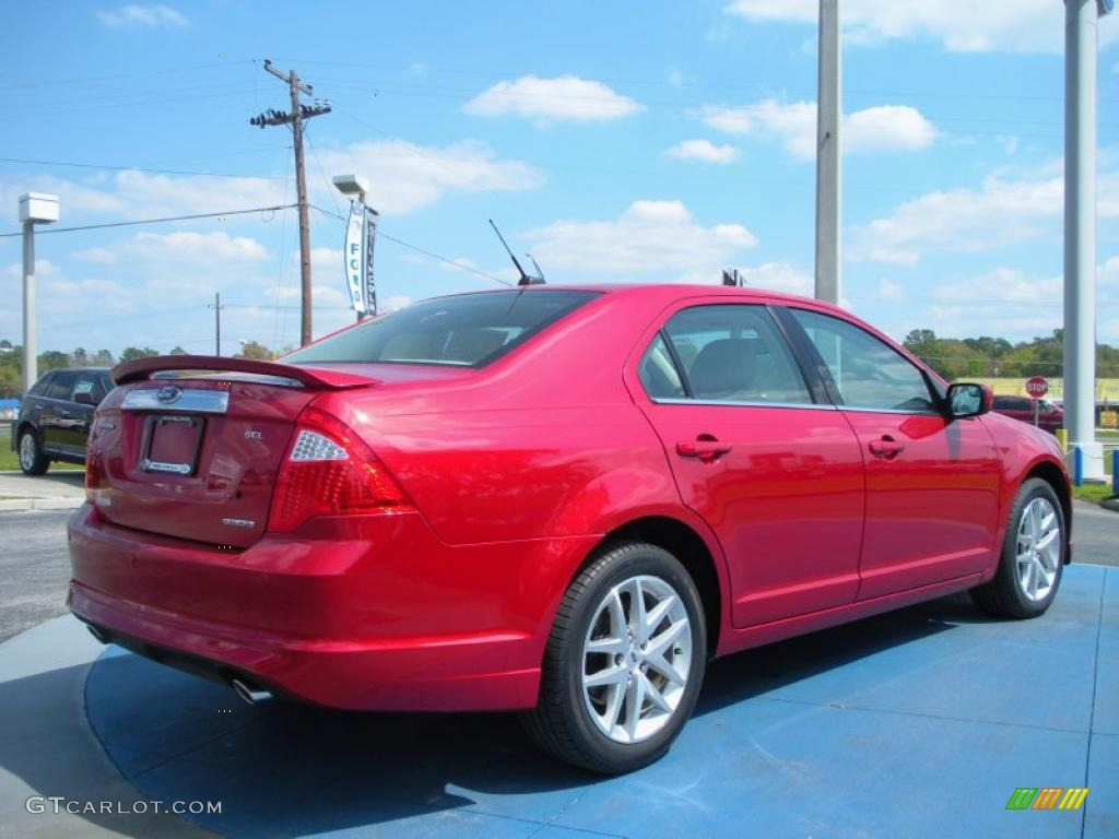 2011 Fusion SEL V6 - Red Candy Metallic / Camel photo #3