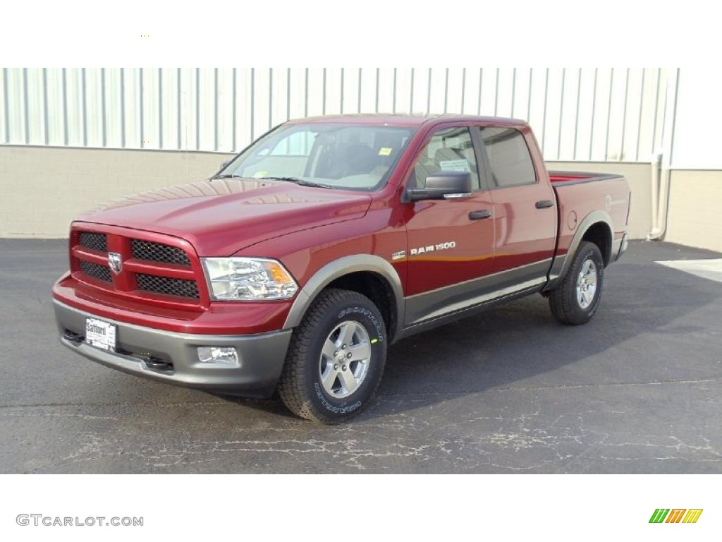2011 deep cherry red crystal pearl dodge ram 1500 slt outdoorsman crew cab 4x4 46777456. Black Bedroom Furniture Sets. Home Design Ideas
