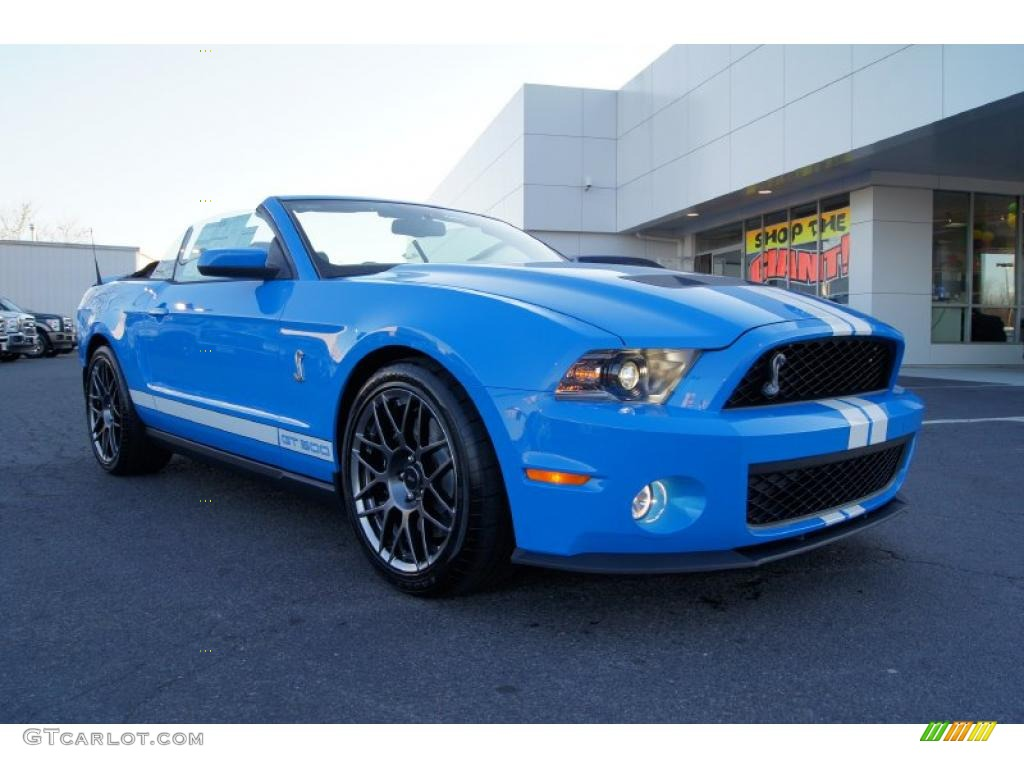 2011 Mustang Shelby GT500 SVT Performance Package Convertible - Grabber Blue / Charcoal Black/White photo #48