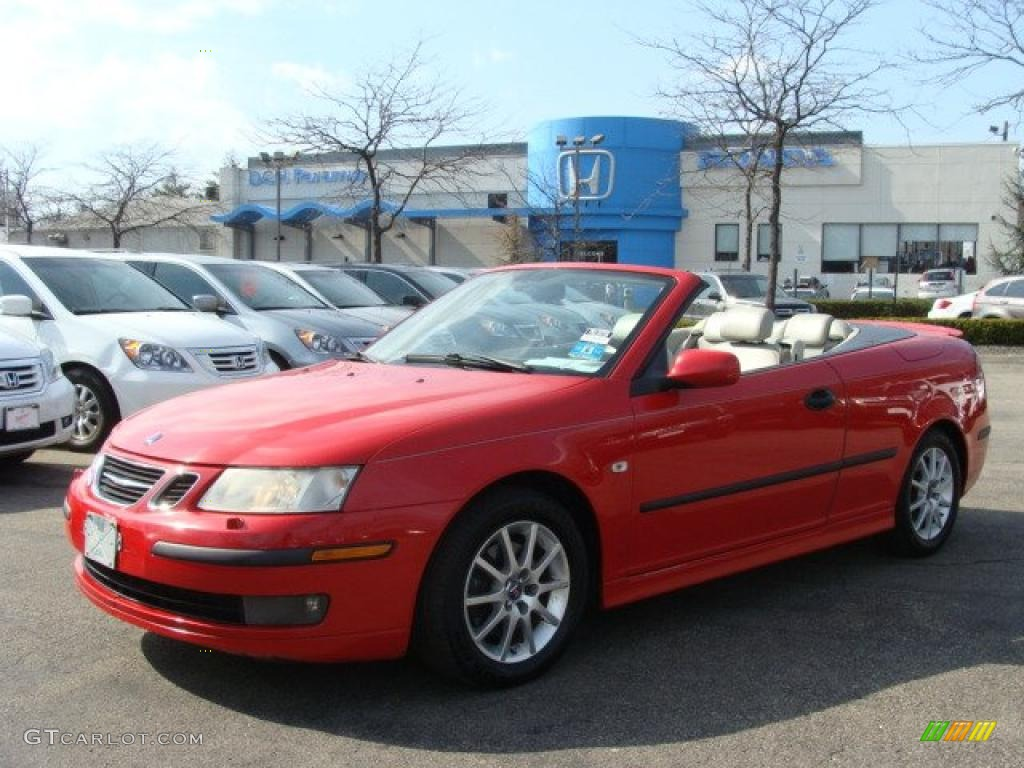 2004 9 3 Arc Convertible Laser Red Parchment Photo 1