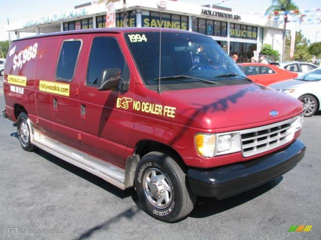 1994 econoline e150 cargo van electric current red metallic gray photo 1