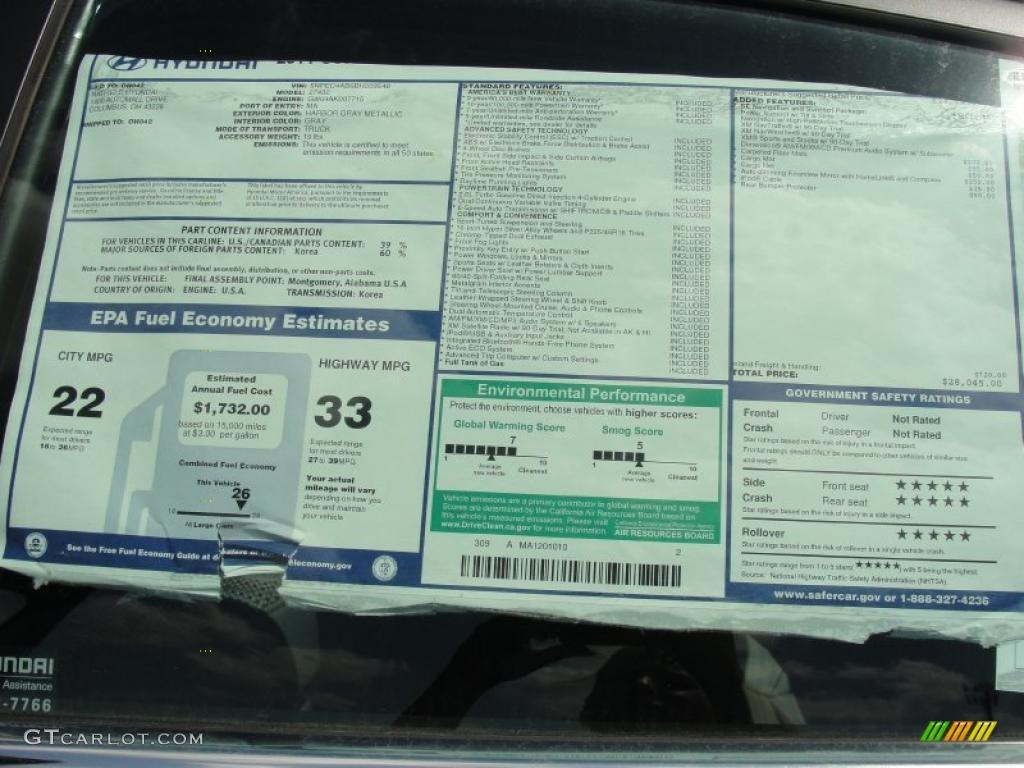 2011 Hyundai Sonata Se 2 0t Window Sticker Photo 46973118