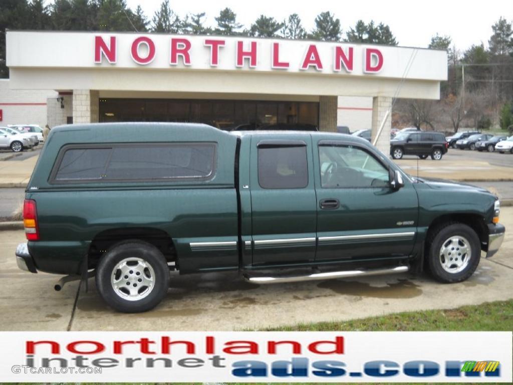2002 Silverado 1500 LS Extended Cab - Forest Green Metallic / Graphite Gray photo #1