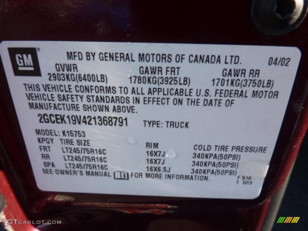 2002 Chevrolet Silverado 1500 Extended Cab 4x4 Info Tag Photo #47151606