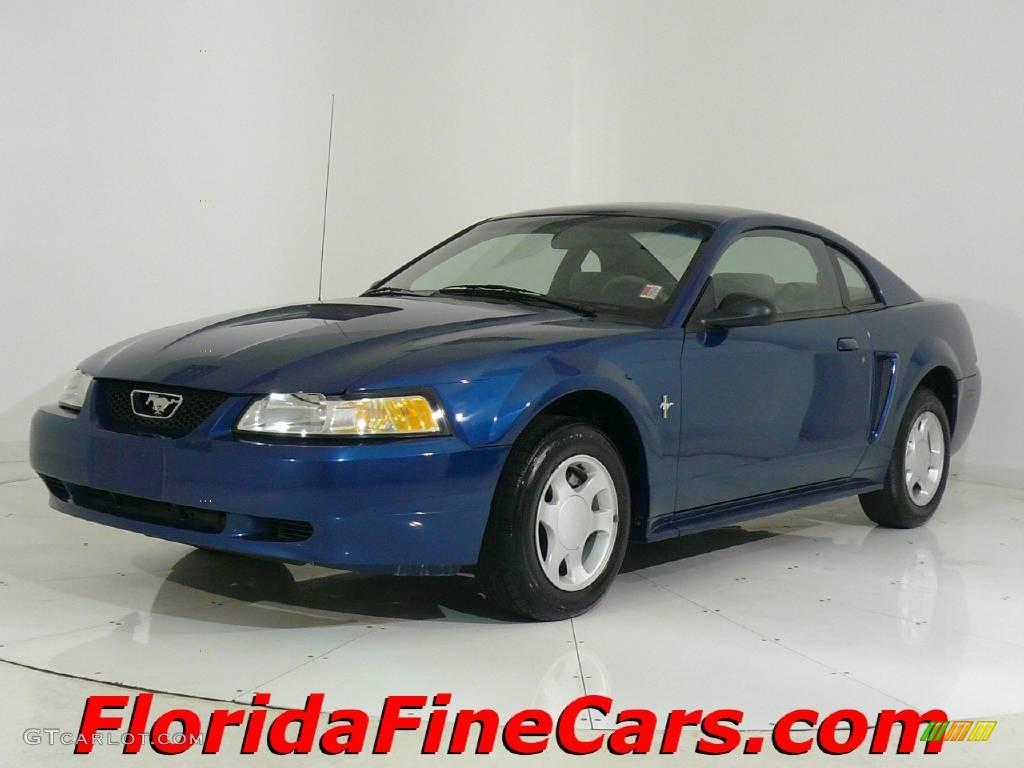 Atlantic blue metallic ford mustang