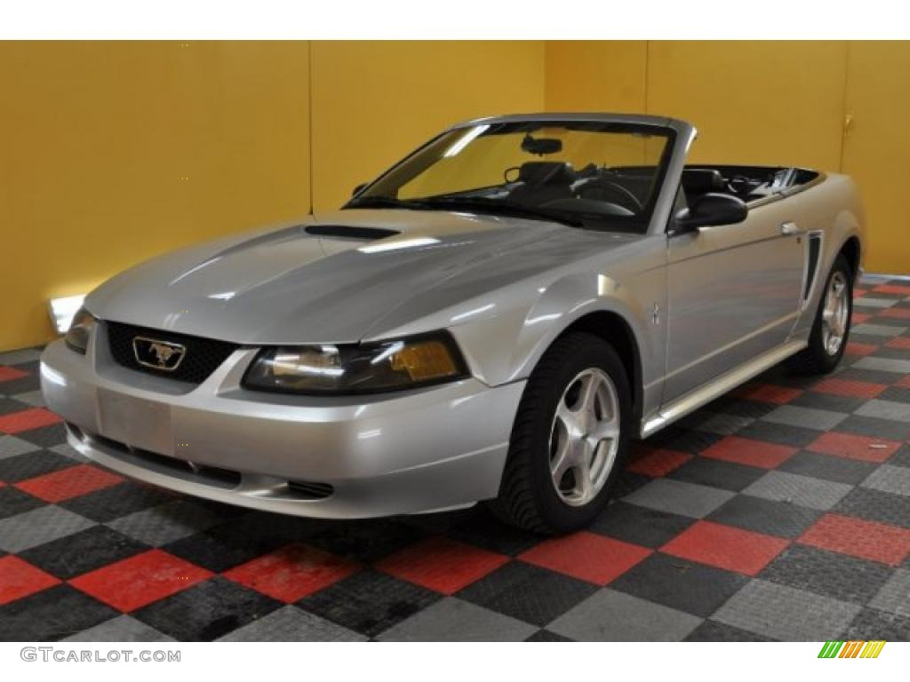 2001 Mustang V6 Convertible - Silver Metallic / Dark Charcoal photo #2