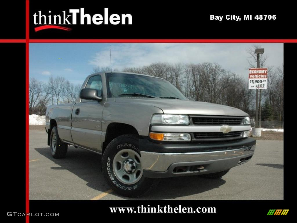 2002 Silverado 1500 Work Truck Regular Cab 4x4 - Light Pewter Metallic / Graphite Gray photo #1
