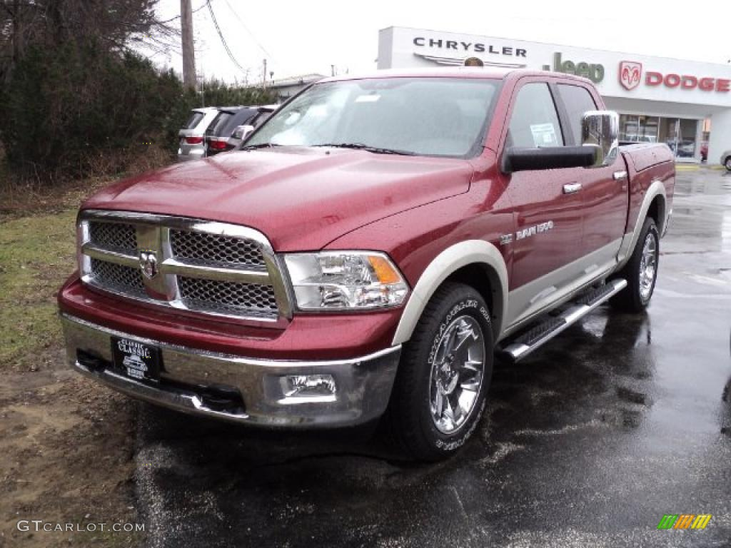 2011 Ram 1500 Laramie Crew Cab 4x4 - Deep Cherry Red Crystal Pearl / Light Pebble Beige/Bark Brown photo #1