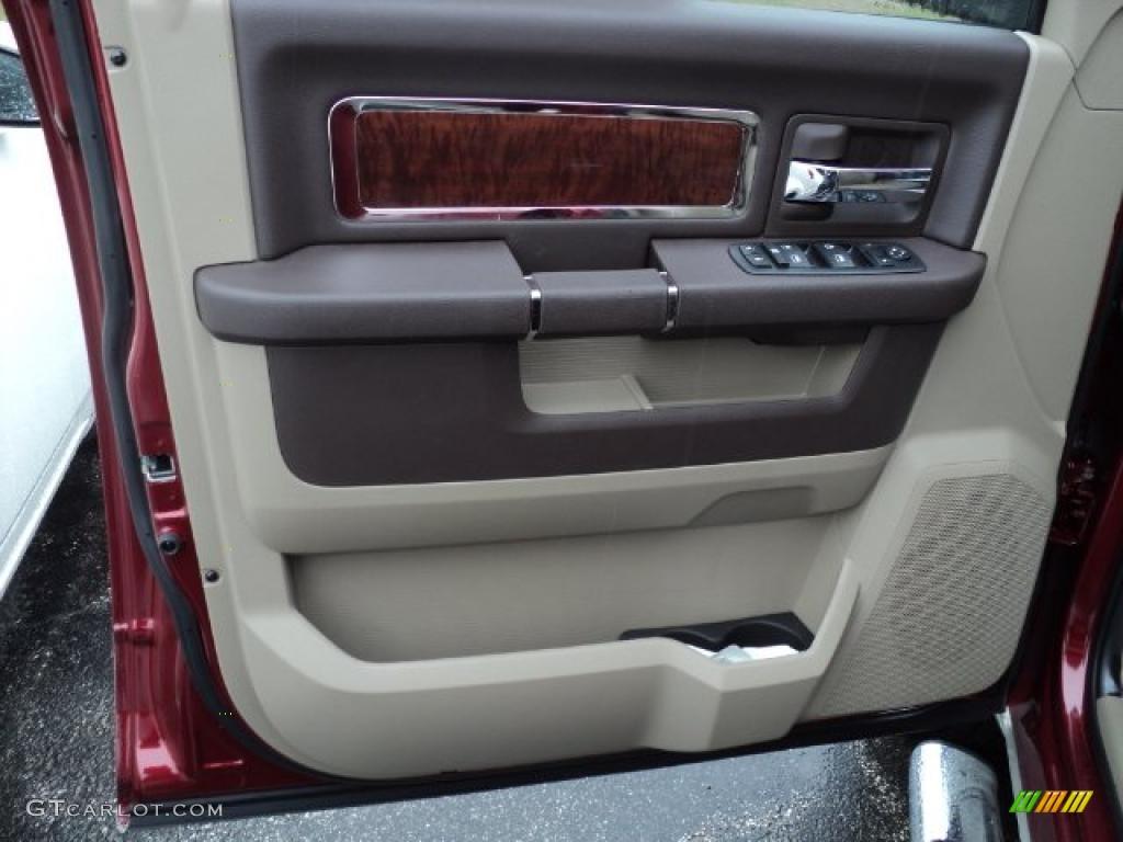 2011 Ram 1500 Laramie Crew Cab 4x4 - Deep Cherry Red Crystal Pearl / Light Pebble Beige/Bark Brown photo #7
