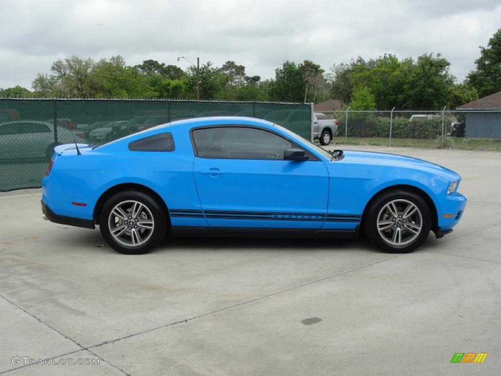 grabber blue 2010 ford mustang v6 premium coupe exterior photo. Black Bedroom Furniture Sets. Home Design Ideas