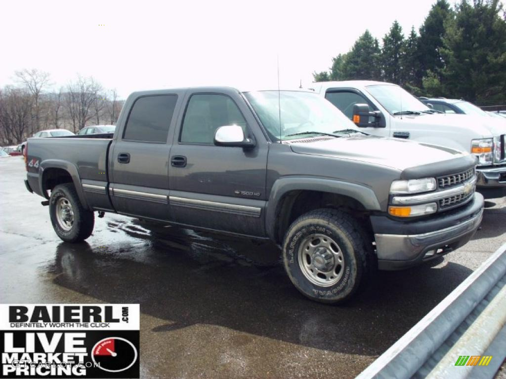 2002 Silverado 1500 LT Crew Cab 4x4 - Medium Charcoal Gray Metallic / Graphite Gray photo #1