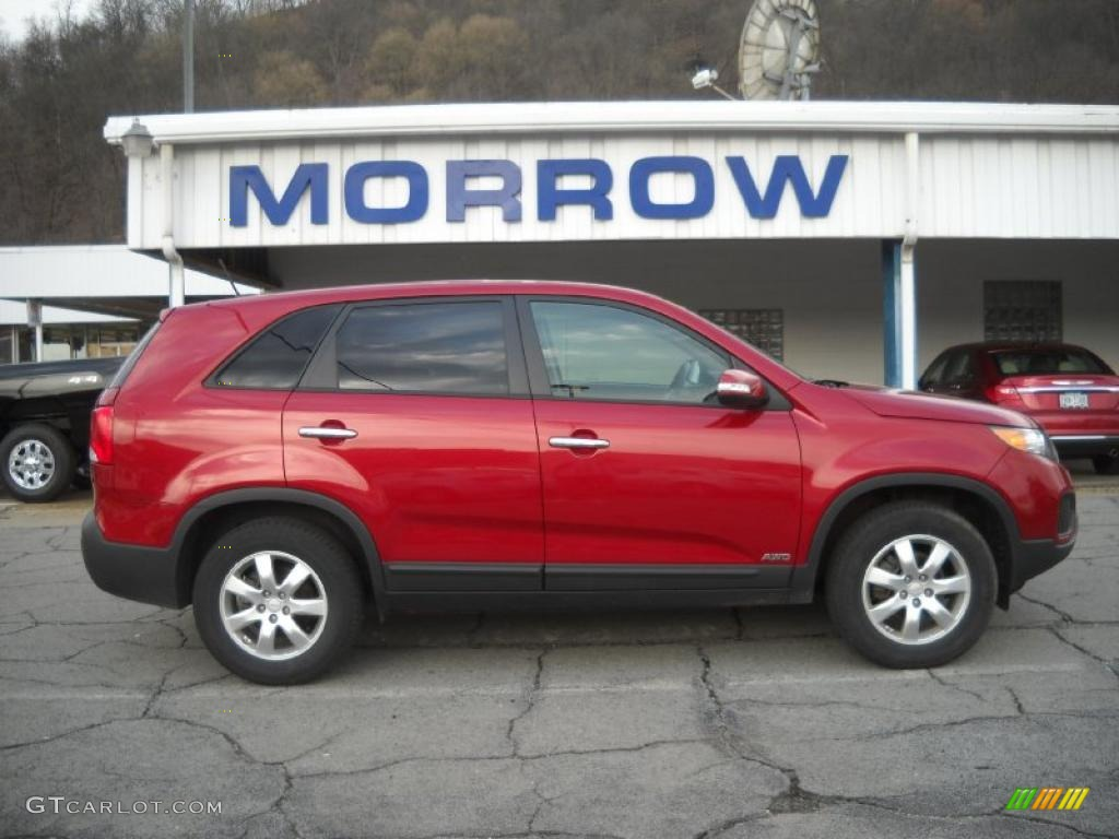 2011 Sorento LX AWD - Spicy Red / Beige photo #1