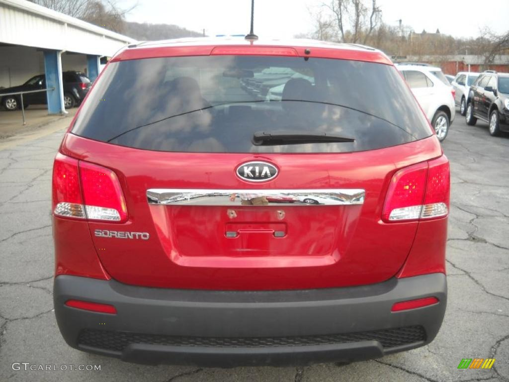 2011 Sorento LX AWD - Spicy Red / Beige photo #3
