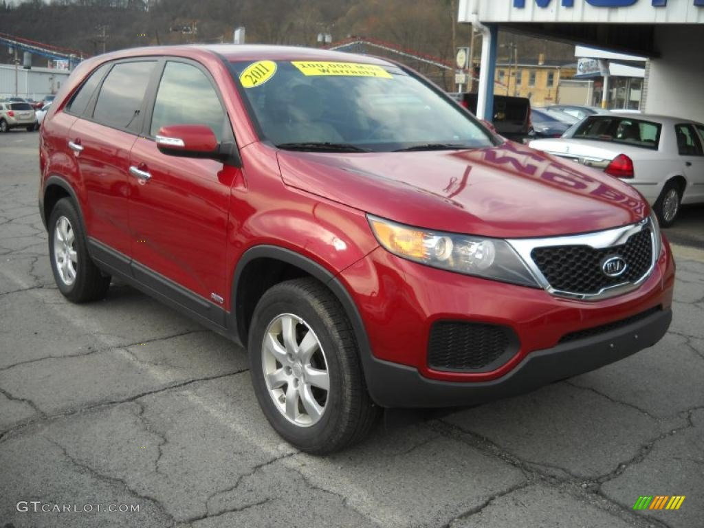 2011 Sorento LX AWD - Spicy Red / Beige photo #20