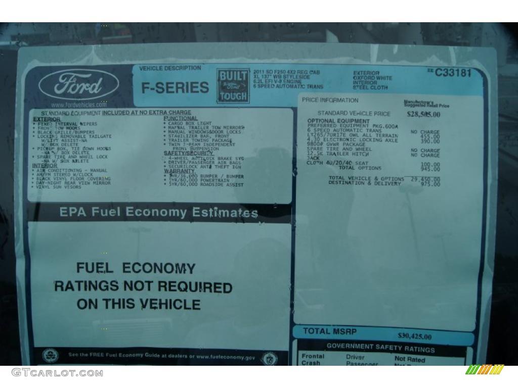 2011 Ford F250 Super Duty XL Regular Cab Window Sticker