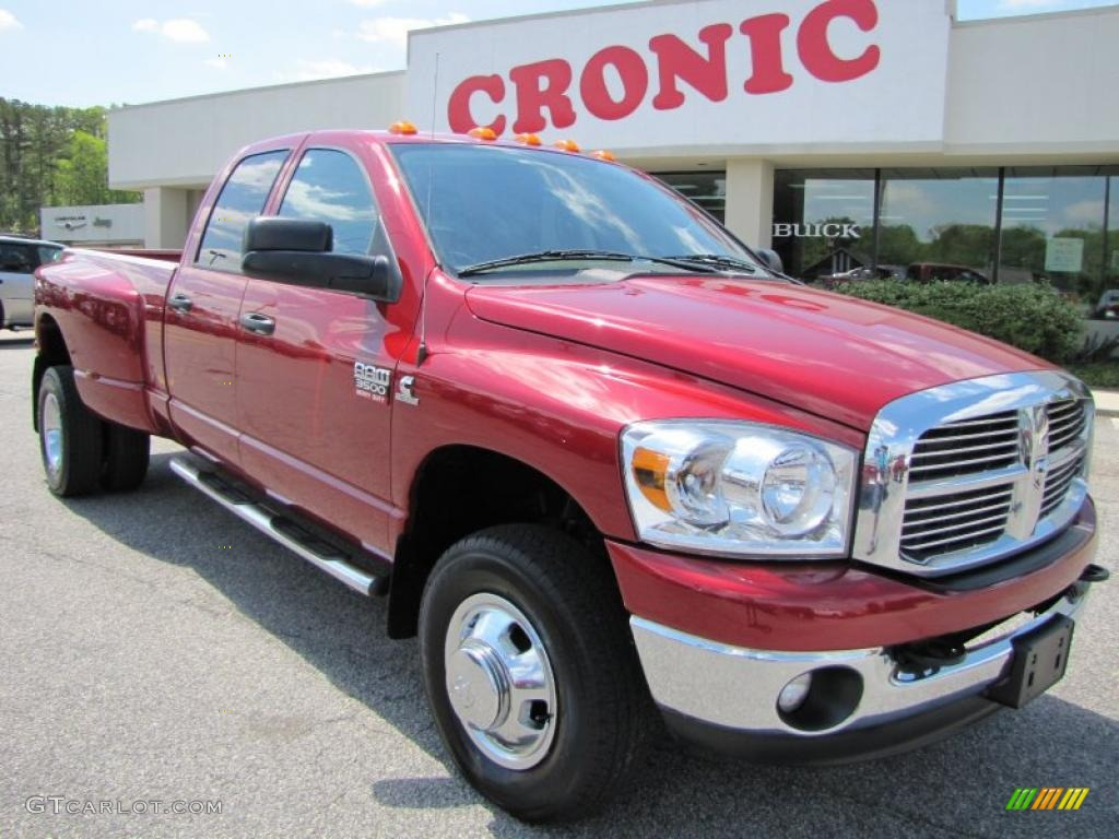 2008 Ram 3500 Big Horn Edition Quad Cab 4x4 Dually - Inferno Red Crystal Pearl / Khaki photo #1