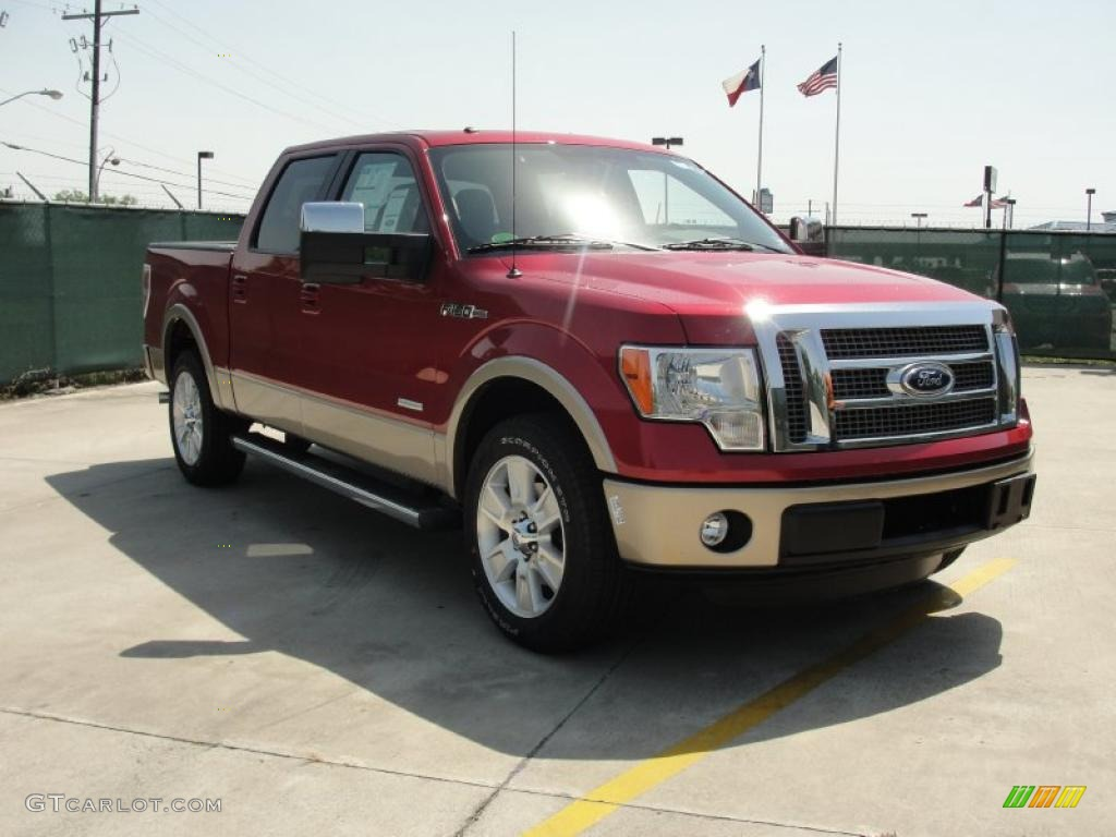 2011 f150 lariat supercrew red candy metallic pale adobe photo 1