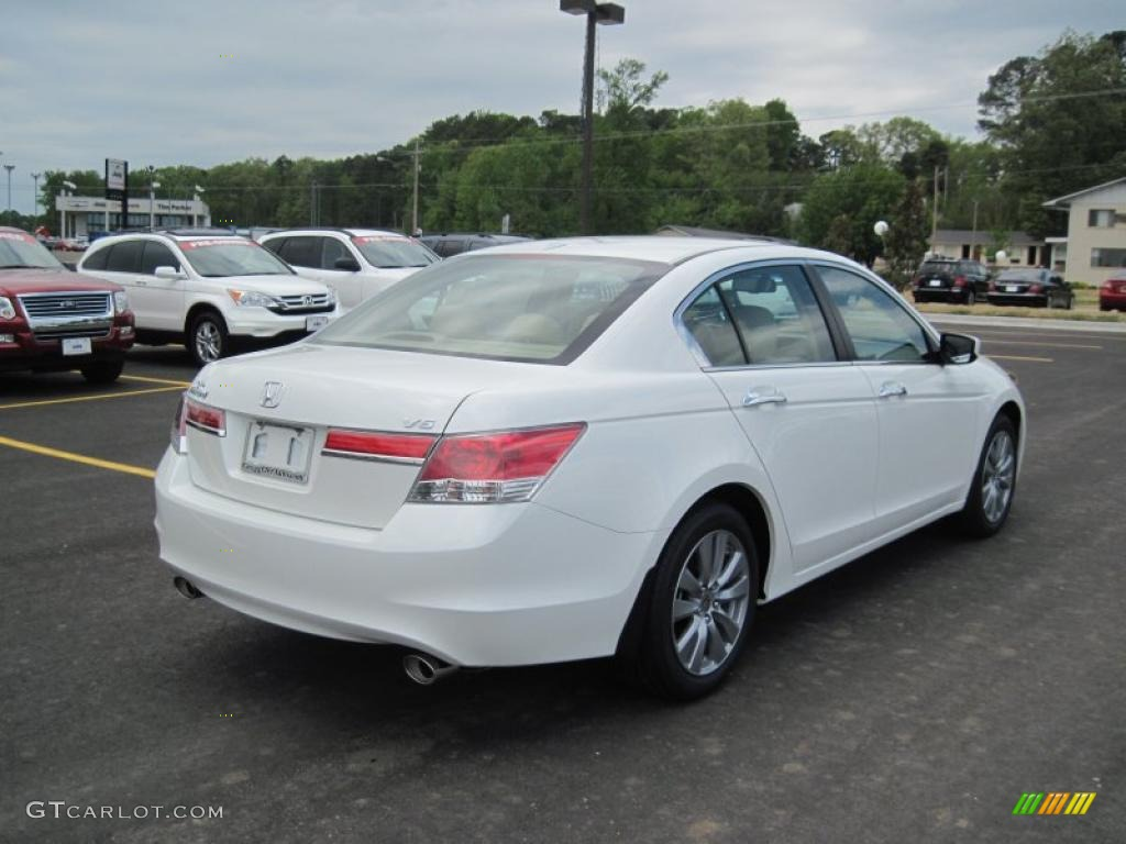 Taffeta White 2011 Honda Accord Ex L V6 Sedan Exterior