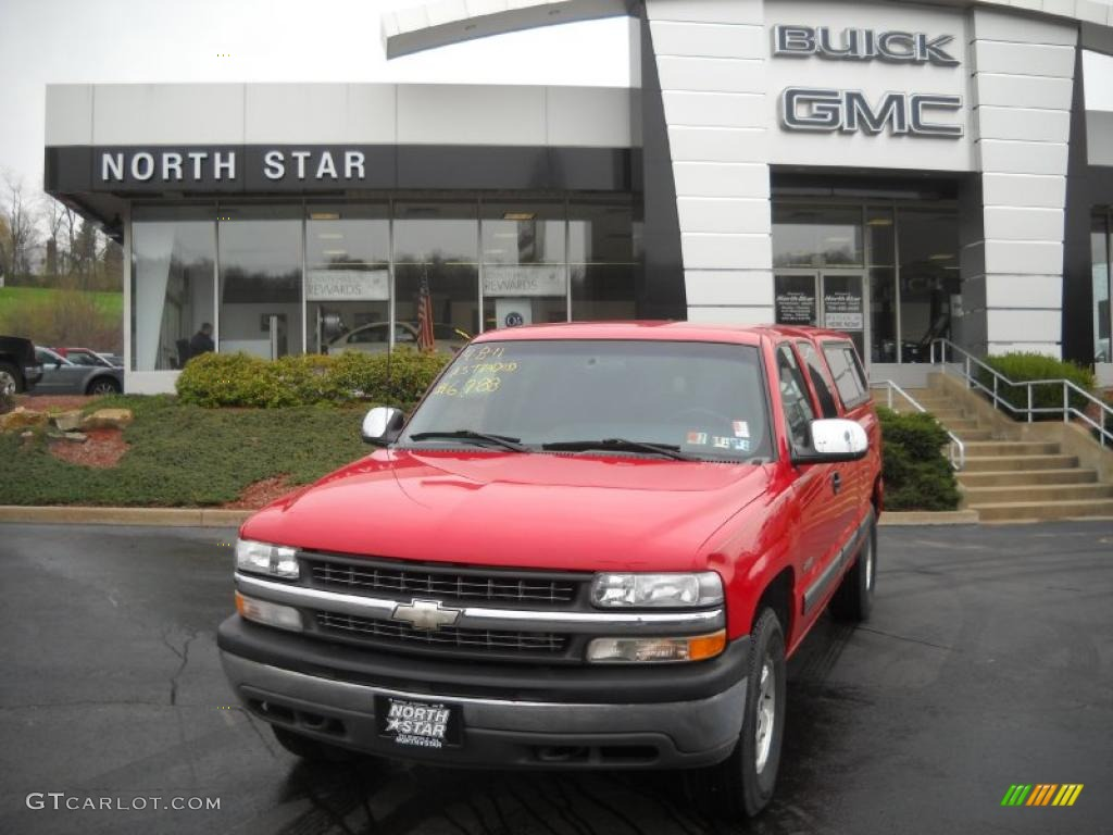 2000 Silverado 1500 LS Extended Cab 4x4 - Victory Red / Graphite photo #1