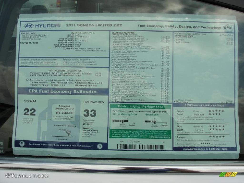 2011 Hyundai Sonata Limited 2 0t Window Sticker Photo 48231137 Gtcarlot Com