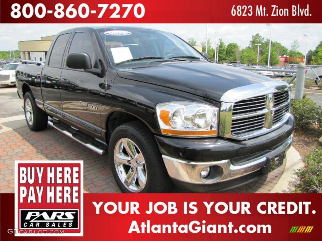 2006 Ram 1500 SLT Quad Cab - Brilliant Black Crystal Pearl / Medium Slate Gray photo #4
