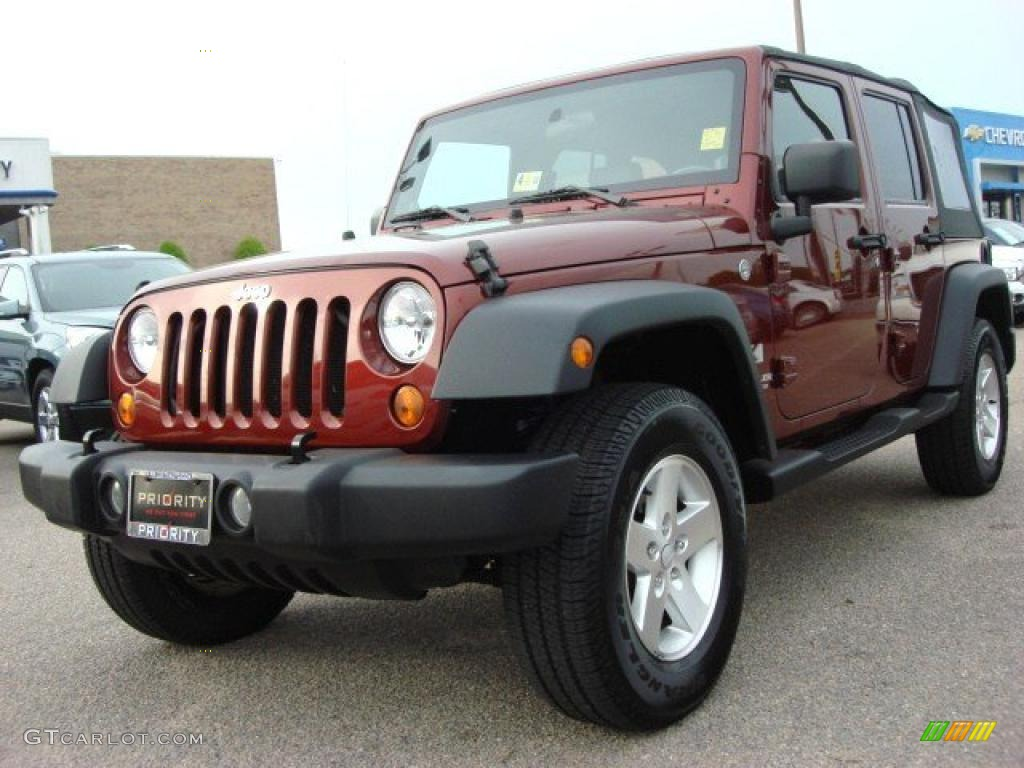 2007 red rock crystal pearl jeep wrangler unlimited x 4x4. Black Bedroom Furniture Sets. Home Design Ideas