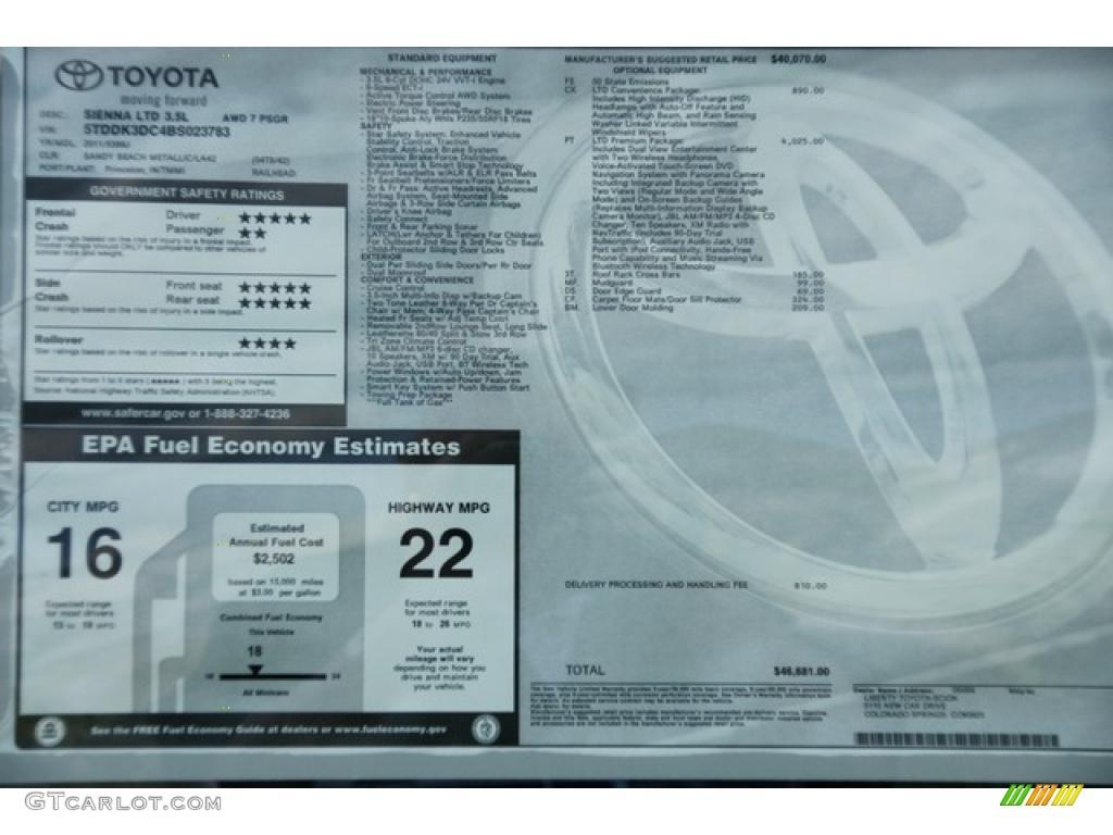 2011 Sienna Limited AWD - Sandy Beach Metallic / Bisque photo #17