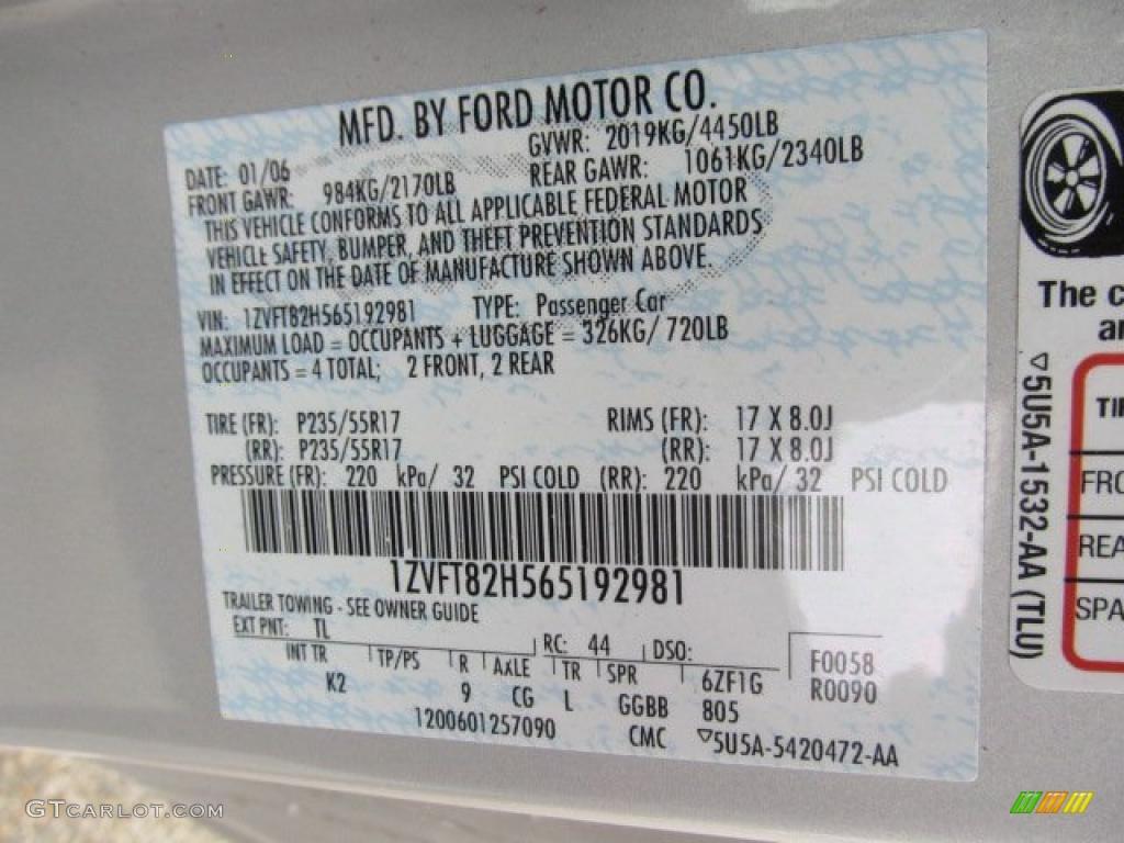 2006 Mustang Color Code TL for Satin Silver Metallic Photo #48845512