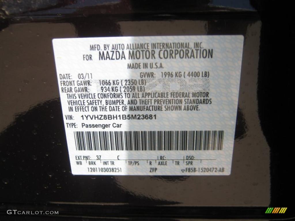 2011 Mazda6 Color Code 37c For Black Cherry Metallic Photo