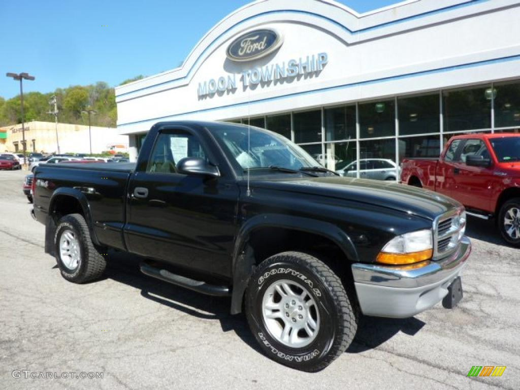 2004 Dakota SLT Regular Cab 4x4 - Black / Dark Slate Gray photo #1